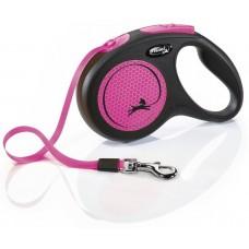 Vodítko FLEXI Neon M pásek 5m/25kg černá/růžová
