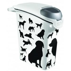 Curver kontejner na krmivo černobílý 10kg pes