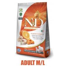 N&D Grain Free Pumpkin DOG Ocean Adult M/L Codfish & Orange 12kg