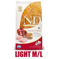 N&D Low Grain DOG Light M/L Chicken&Pomegranate 12kg + barel ZDARMA