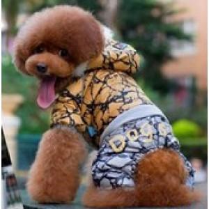 Kombinéza pro psy DogsLife STONE S 20-25cm/10 - šusťáková s kapucou - žlutá
