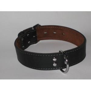 Obojek luxusní mastná kůže černý - 4,5 cm x obvod krku 45 - 55 cm