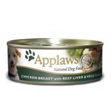 Applaws konzerva Dog kuře, hovězí játra a zelenina 156g