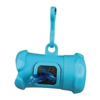Pouzdro plast + sáčky na psí exkrementy KOST modrá