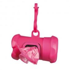 Pouzdro plast + sáčky na psí exkrementy KOST růžová